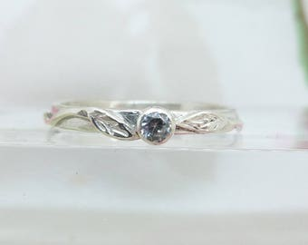 Silver leaf Ring, Engagement Ring, Cubic Zirconia Solitaire Ring, Silver Leaf Ring, Silver Ring, Stacking Ring, Woodland Ring, Size N 1/2.