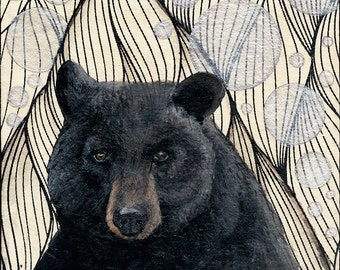 "Portrait of a Black Bear ""Alone with my Thoughts"" 5x5 Art Print Artwork, Woodland Art Print"