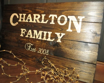 Your Family Name Customized Wood Sign - Established Date Sign, Rustic, Distressed, Country, Farmhouse, Shabby, Wood Plank, Kitchen Decor