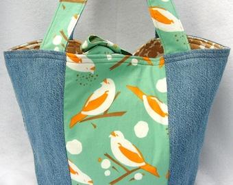 Happy Birds denim eco tote from reclaimed fabric