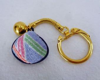 VJ645:Keychain,Japanese Omamori keychain,Natural Shell Covered Chirimen fabric Shinto shrine LuckyCharm,Omamori talisman,unused,made inJapan