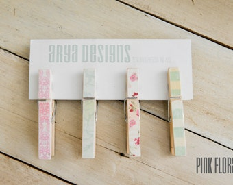 PINK FLORAL  Darling Magnetic Clothespins (Set of 4)