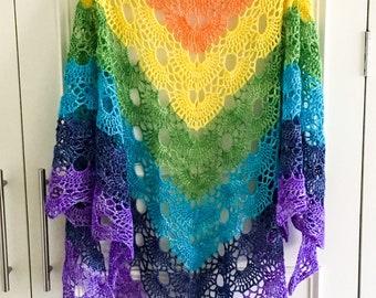 Rainbow merino wrap, sparkly rainbow shawl, festival wear, 4 ply lightweight rainbow shawl