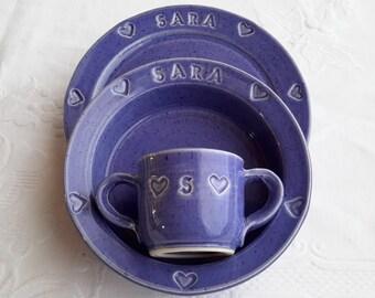 personalized child set, baby set, pottery child set, christening gift, baby christening gift, childrens monogramed dish set