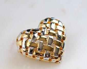 Gold Heart Brooch - Silver Gold Heart Brooch