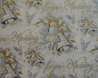 Vintage 1950s Wedding Gift Wrap--Gold & Silver Wedding Bells--2 Sheets of Wrapping Paper