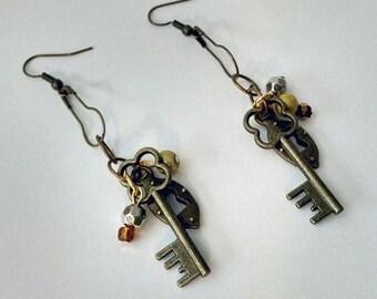 Unlocked  steampunk dangle earrings