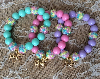 Set of 6 Unicorn party favor bracelet.. Unicorn charm bracelet.. Unicorn party.. Unicorn party favor.. Unicorn birthday party
