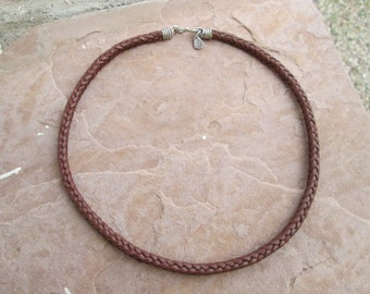 8 strand herringbone braided leather choker with Sterling silver findings
