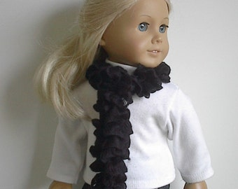 18 Inch Doll Clothes Knit Black Boa Scarf Handmade to Fit the American Girl and other 18 inch dolls - Ready to Ship