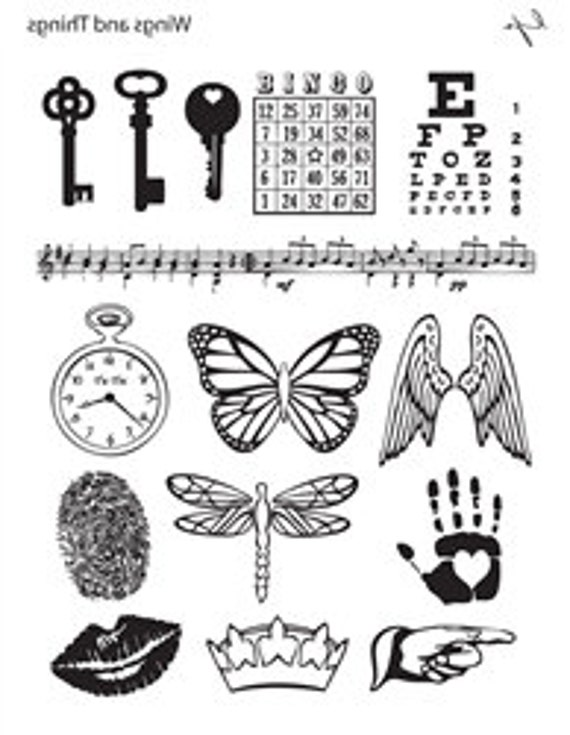 Wings N Things by Lisa Pavelka Unmounted stamp with images of wings, keys, eye charts,pocket watch, dragonfly, hand, lips and crowns