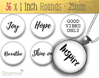 Positive Affirmation Words and Sayings White Background - 1 (One) Inch Round Collage Images-Pendant Images-Buy 2 Get 1 Free-Digital Download