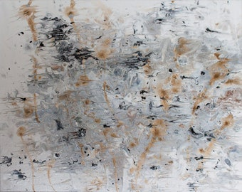 Play Rachmaninoff!  original metallic painting acrylic fluid abstract artwork on canvas