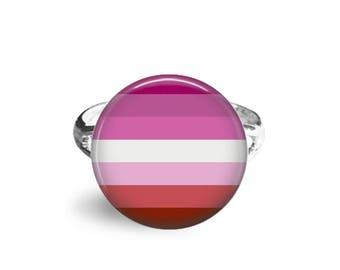 Lesbian Pride, Adjustable Ring, LGBTQ Pride, LGBT Jewelry, Lgbt Gift, Lgbtq