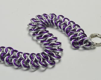 Light Weight Violet Anodized Aluminum European Chainmaille Bracelet