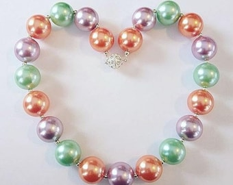 Chunky Bead Pearly Necklaces (coral/lavender/mint)
