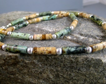 Earthy mens beaded necklace, rustic necklace, moss green and brown beaded necklace, African turquoise and picture jasper, biker necklace