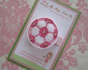 Girl hair clips - soccer hair clips - girl barrettes - sport barrettes