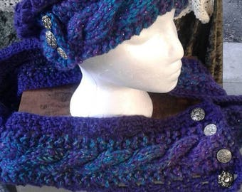 Cable knit slouch hat and matching scarf