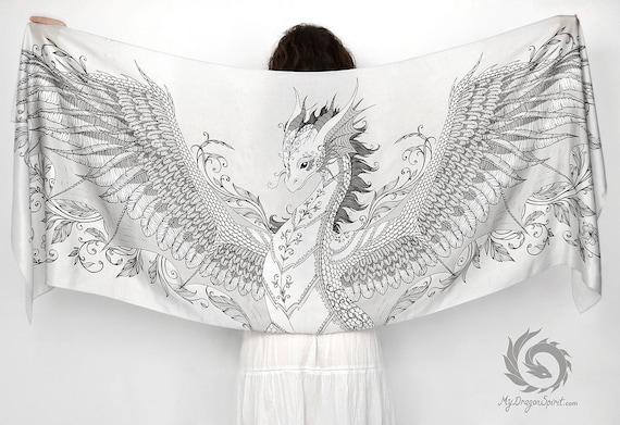 White silk scarf with a silver phoenix dragon