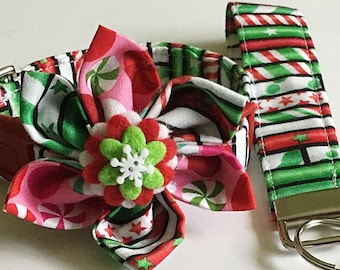 Red & Green Striped Candy Cane Christmas Flower Collar for Female Dogs and Cats