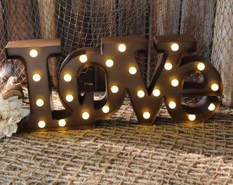 Lighted Marquee Love Sign, Wedding, Metal-Marquee-Industrial-Home Decor-Destination-Rustic-Barn-Bride-Groom-Rusty-Wedding Shower