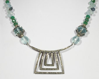 Rose cut Diamond crusted antique finish Sterling Silver Pendant with Emeralds, Aquamarine briolettes, and Diamond Crusted Beads