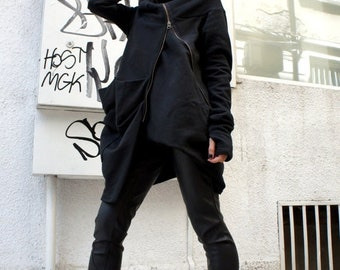 SALE Asymmetric Extravagant Black Hoodded Coat / Qilted Cotton  A07015