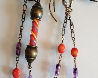Coral Amethyst and Handblown Glass Cane Necklace and Earrings Set Handmade