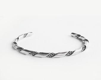 "Twisted Cool •  6.15""  • Vintage Handmade Navajo Rope Sterling Cuff"