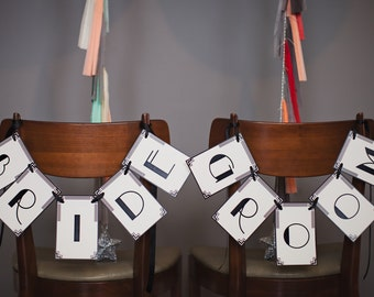 Art Deco Chair Signs: Bride & Groom