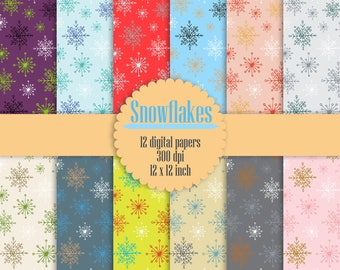 """12 Snowflake Digital Papers 12"""" Instant Download, Winter Digital Papers, Snowflake Pattern, High Resolution 300 dpi"""