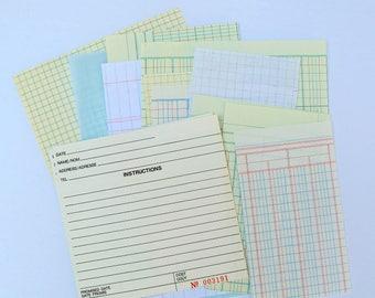 vintage ledger paper pack, vintage junk journal pages, vintage office paper