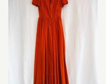 On Sale Vintage 1950's Rust Taffeta Formal Dinner Dress