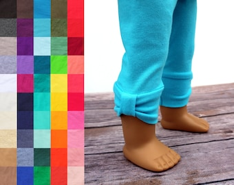Fits like American Girl Doll Clothes - Bow Cuff Leggings, You Choose Color   18 Inch Doll Clothes
