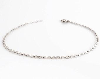 Silver choker Necklace / Sterling silver dot choker / choker necklace / layering necklace / coin choker