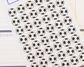 48 Soccer Ball Planner Stickers- Soccer Game or Practice Stickers- perfect in your Erin Condren planner, wall calendar or scrapbook