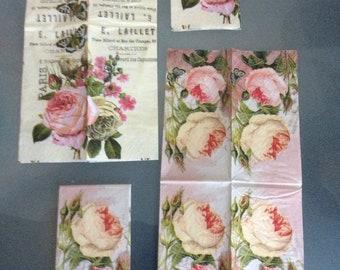 Set 4 Pc Paper Napkins vintage roses Decoupage