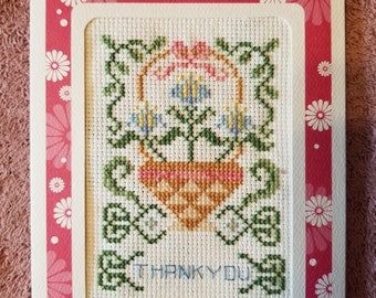 Spring Themed Cross-Stitched Thank You Card