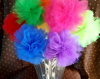 Pom pom wand tulle wand gender reveal wand princess fairy wand birthday wand  party favor wedding decoration photo prop birthday decoration