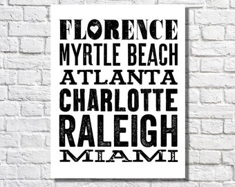 City Names Typographic Print Travel Bucket List Poster Personalized Art Black & White Home Decor Places We've Been Places Lived Subway Sign