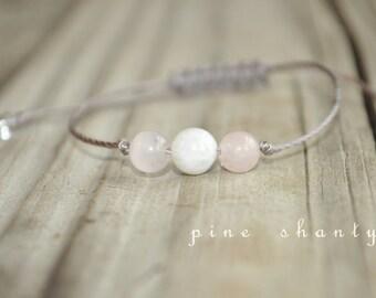 Moonstone, Rose Quartz, Love Meditation Bracelet, Good Luck, Minimalist Jewelry, Hypoallergenic, Yoga Bracelet