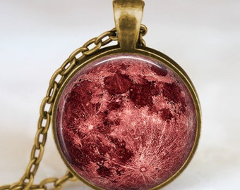 Red moon necklace, blood moon jewelry, moon pendant, lunar pendant, moon jewelry , space pendant