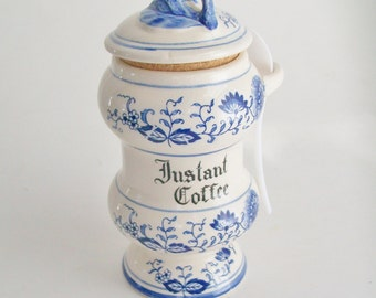 Vintage Blue Onion Instant Coffee Canister Blue and Ivory Japan Kitchen Storage Kitchen Decor