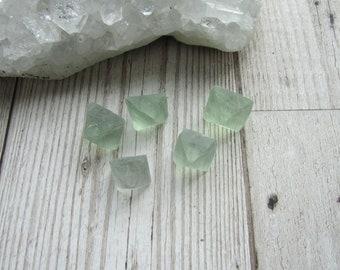 Natural Green Fluorite Octohedron - Raw Rough Crystal - Octohedra Gemstone Specimen