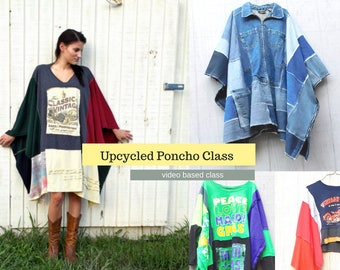 Poncho, Patchwork Poncho, Sewing Classes, Upcycled Sewing, Refashion, Learn To Sew, Sew, Online Class, Boho, Tutorials,Patterns