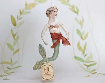 Meerjungfrau Nostalgischer Christbaumschmuck Wattefigur Ornament Spun Cotton