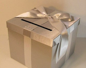Wedding Card Box Silver Gift Card Box Money Box  Holder--Customize in your color(10x10x9) --custom made
