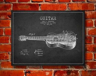 1893 Guitar Patent, Canvas Print, Wall Art, Home Decor, Gift Idea