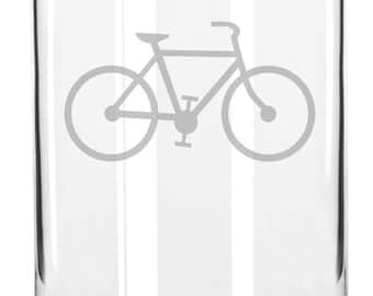 Awesome Cycling Road Bike Hand Etched 16 oz Glass Can Cup